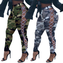 (ebay price:$28.14)Plus Size Women Camouflage Print Eyelets Lace-up Skinny Pants Pencil Pants