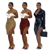 (ebay price:$22.24)Women Sexy Solid Color PU Side Slit Pencil Skirt