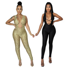 (ebay price:$21.64)Women sleeveless tie-up printed bodycon jumpsuit