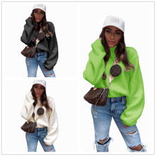 (ebay price:$25.74)Women Round Neck Long Sleeve Solid Color Fluffy Sweatershirt Tops