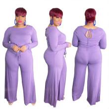 ebay price:$26.25)Plus Size Women's Long Sleeve Solid Color Tie-up Pockets Wide Leg Jumpsuit