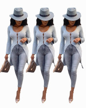 (ebay price:$23.43)Women Long Sleeve Solid Color High Low Buttons Blouse Tops