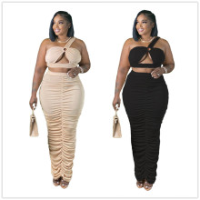 (ebay price:$27.65)Plus Size Women One Shoulder Sleeveless Crop Top Solid Ruched Skirt Set 2pcs