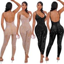 (ebay price:$33.76)Sexy mesh see-through rhinestone sleeveless trousers jumpsuit