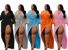 (ebay price:$33.39)Plus Size Women Sexy Solid Color V Neck Long Sleeve High Slit Dress with Belt