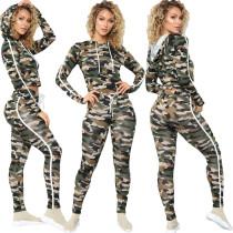 (ebay price:$30.03)Women Hooded Sleeve Camouflage Print Long Pants Set 2pcs