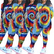 (ebay price:$30.71)Women Sloping Shoulder 3/4 Sleeve Tie-dyed Print Leg Pants Set 2pcs