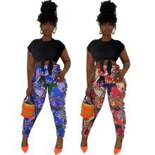 (ebay price:$20.74)Women Fashion All-match Printed Tassels Skinny Pants Trousers