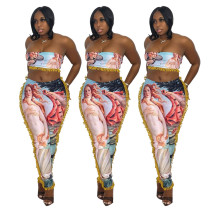 (ebay price:$24.05)Sexy Women Printed Tasseled Tube Top+Skinny Pants Set 2pcs