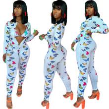 (ebay price:$22.83)Women Fashion Long Sleeve Butterfly Print  Zipper Jumpsuit with Bra 2pcs
