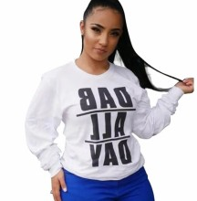 (ebay price:$20.17)Women Round Neck Long Sleeve Letter Print T-shirt Casual Tops