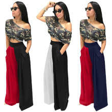 (ebay price:$24.54)Women Fashion High Waist Pockets Color Block Casual Pants Trousers