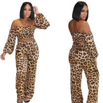 (ebay price:$30.12)Women Boat Neck Puff Sleeve Leopard Print Long Pants Set 2pcs