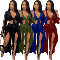 (ebay price:$25.35)Women's solid color slit midriff-baring two-piece suit