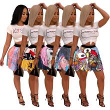 (ebay price:$26.59)Women Printed Short Sleeve T-shirt+Mini Pleated Skirt Set