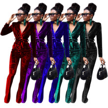 (ebay price:$39.98)Women Long Sleeve Solid Color Velvet Belted Boot-cut Outfits 2pcs