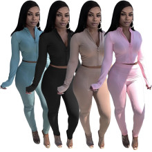 (ebay price:$30.43)Autumn & Winter Women Long Sleeve Zipper Solid Color Outfits 2pcs