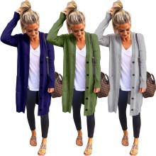 (ebay price:$32.84)Women's long-sleeved pocket button knit cardigan sweater coat