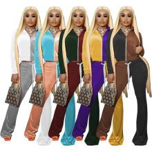 (ebay price:$38.38)Women Long Sleeve Zipper Pockets Color Block Velvet Outfits 2pcs
