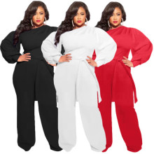 (ebay price:$28.01)Plus size women's solid color one-word neck puff sleeve loose casual sports jumpsuit