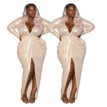 (ebay price:$31.55)Plus Size Women V Neck Long Sleeve Solid Color Slit Party Club Irregular Dress