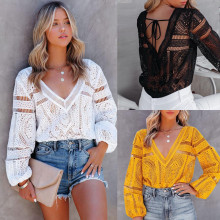 (ebay price:$22.43)Autumn new style crochet hollow lace bottoming top