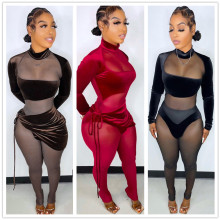 (ebay price:$31)Women Long Sleeve Mesh Patchwork Jumpsuit+Tie Skirt 2pcs