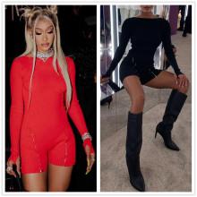 (ebay price:$24.35)S-L Women Fashion Round Neck Long Sleeve Solid Color Zipper Club Jumpsuit Romper