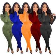 (ebay price:$37.91)Women Round Neck Long Sleeve Solid Ruched Bodycon Outfits 2pcs