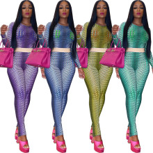 (ebay price:$29.21)Women Long Sleeve Round Neck Printed Bodycon Outfits 2pcs