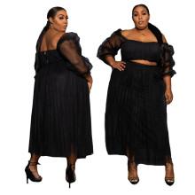 (ebay price:$30.69)Plus Size Women Boat Neck Long Sleeve Crop Top Mesh Patchwork Sexy Skirt Set 2pc