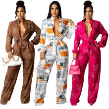 (ebay price:$31.16)Fashion Women Long Sleeve Printed Buttons Belted Pockets Jumpsuit