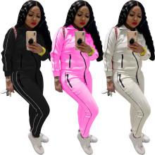 (ebay price:$30.83)Autumn & winter women's clothing zipper stitching fashion sports casual suit