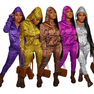 (ebay price:$35.79)Women's Letter Print Hooded Reflective Fabric Sports Suit