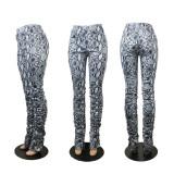(ebay price:$23.13)Women Snakeskin Print Stackes Hem Slit Skinny Pants Pencil Pants