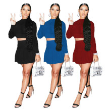 (ebay price:$25.22)Women Long Sleeve T-shirt Solid Color Mini Pleated Skirt Set