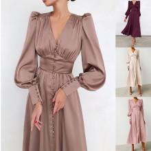 (ebay price:$40.55)XS-XL Women V Neck Long Sleeve Single-breasted Solid Dress