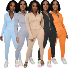 (ebay price:$24.21)Women's solid color high collar zipper finger cots casual sports suit