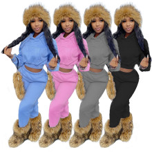 (ebay price:$34.07)Women Hooded Long Sleeve Pockets Brushed Solid Casual Outfits 2pcs