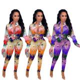 (ebay price:$30.62)Women Long Sleeve Buttons Shirt Printed Long Pants Set 2pcs