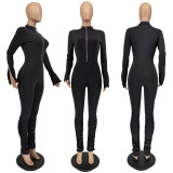 (ebay price:$26.18)Fashion Women Long Sleeve Solid Zipper Stacked Hem Bodycon Jumpsuit
