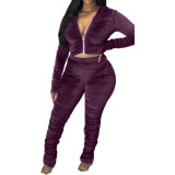 (ebay price:$41.17)Women Long Sleeve Zipper Solid Color Velvet Ruched Casual Outfits