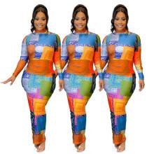 (ebay price:$25.31)Women High Neck Long Sleeve Printed Bodycon Pencil Dress