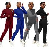 (ebay price:$28.79)Fashion Women Long Sleeve Solid Zipper Drawstring Bodycon Jumpsuit