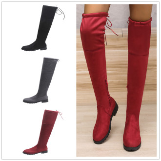 (ebay price:$43.4)Women's ladies fashion casual solid zipper boots over-knee boots