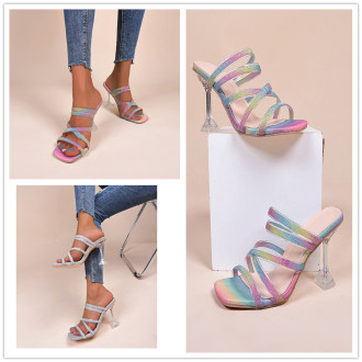 (ebay price:$28.24)Women's ladies fashion casual shiny high heels sandals slippers