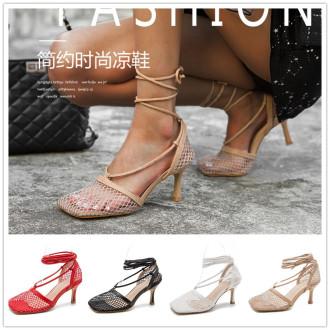 (ebay price:$35.63)Women's ladies fashion casual tie ankle net high heels sandals
