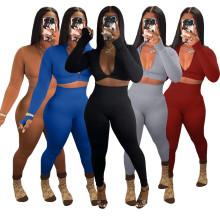 (ebay price:$26.98)Women Long Sleeves Zipper Solid Color Yoga Casual Long Pants Set 2pcs