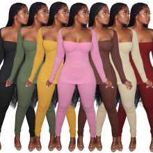 (ebay price:$24.8)Fall & Winter Women's Fashion Long Sleeve Slit Low Cut Pit Striped Cotton 2pc