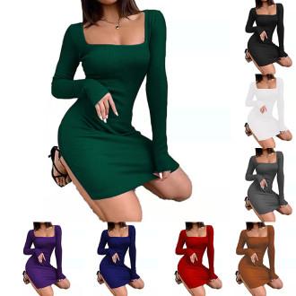 (ebay price:$20.47)Fashion Women Square Neck Long Sleeve Solid Color Rib Dress